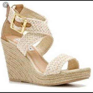 Steve Madden Skylar Ecru Wrap Sandals Wedges 7 1/2